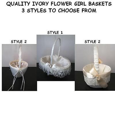 QUALITY Ivory Flower Girl Basket Wedding Ceremony - 3 Styles to choose from
