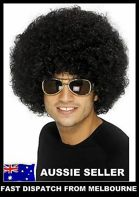 BLACK Unisex Afro Curly Hair Costume 70s 80s Wig Wigs Disco Fancy Clown Party