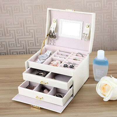 Jewelry Leather Mirror Box Storage Organizer Ring Earring Necklace Display Case