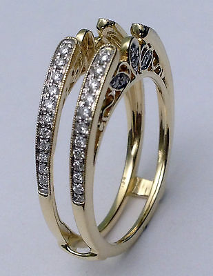 Diamonds Antique Vintage Cathedral Ring Guard Solitaire Enhancer Yellow Gold