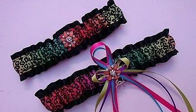 Colorful RAINBOW GARTER Set In Standard and Petite Size