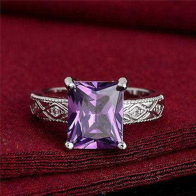New 925 Sterling Silver Filled Amethyst Cubic Zirconia Crystal Ring For Women