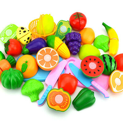 Fruit Kitchen Role Play Fruit Vegetable Food Reusable Pretend New Cutting Set