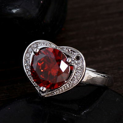 New 925 Sterling Silver Filled Ruby Cubic Zirconia Over Heart Ring For Women