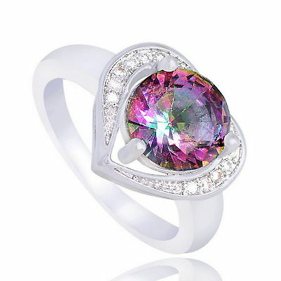 New 925 Sterling Silver Filled Coloured Cubic Zirconia Over Heart Ring For Women