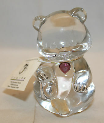 Vintage Fenton USA Handmade Glass Bear Clear Amethyst Figure Figurine February