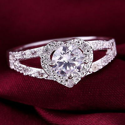 New 925 Sterling Silver Filled White Cubic Zirconia Over Heart Ring For Women