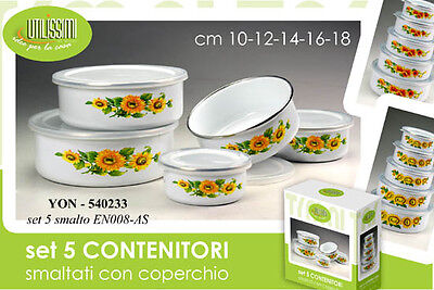 Set 5 Contenitori Cibo Smaltati Con Coperchio Girasoli Decori Ass. Yon 540233