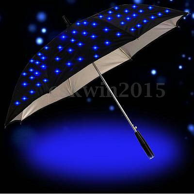 "23"" Creative Windproof LED Auto Open Long Handle Rain Umbrella With Flashlight"