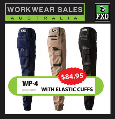 FXD Work Pants WP-4 Stretch New Style Mens Workwear, Elastic bottom.
