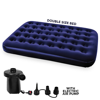 New Jilong Double Inflatable Flocked Air Bed Camping Mattress Free Electric Pump