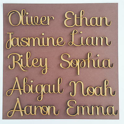 Wooden Script Names Word Bespoke Wedding Book Family Tree Decor Christmas MDF