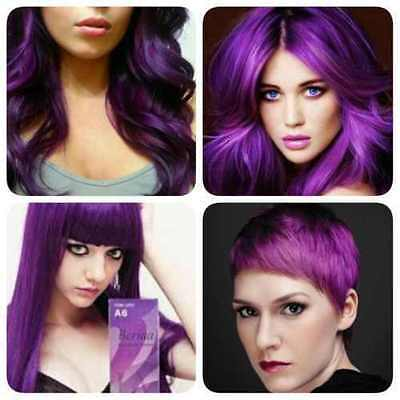 New!!!BERINA PROFESSIONAL PERMANENT HAIR DYE COLOR CREAM PURPLE VIOLET # A6