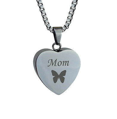 Mom Butterfly Heart Cremation Jewellery Memorial Ash Urn Pendant Engraving