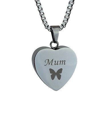 Mum Butterfly Heart Cremation Jewellery Memorial Ash Urn Pendant Engraving