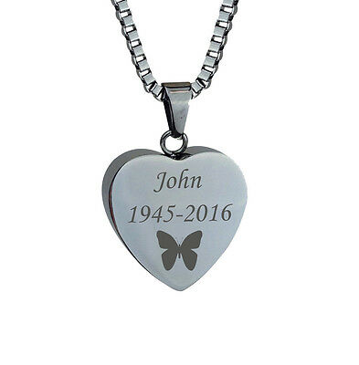 Personalised Butterfly Heart Cremation Jewellery Memorial Ash Urn Pendant