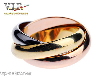 CARTIER TRINITY BAGUE XL EDITION RING Gr.51 GOLDRING 18K /750 TRICOLOR GOLD RARE