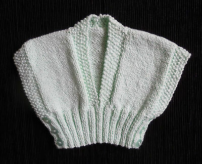 Baby clothes BOY newborn 0-1m NEW! aqua sleeveless sweater hand-knitted SEE SHOP
