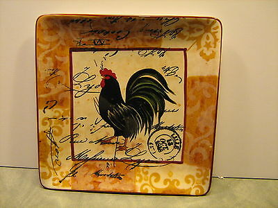 Decorative Square Rooster Plates, Set of 4 Different, Geoffrey Allen, NIB
