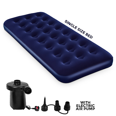 New Single Inflatable Flocked Air Bed Camping Mattress Free Electric Pump