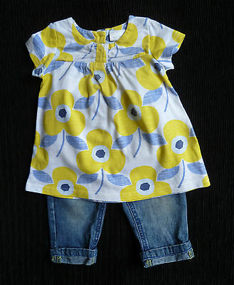Baby clothes GIRL 3-6m outfitNEXT short sl. yellow/blue top/M&Co jeans/trousers