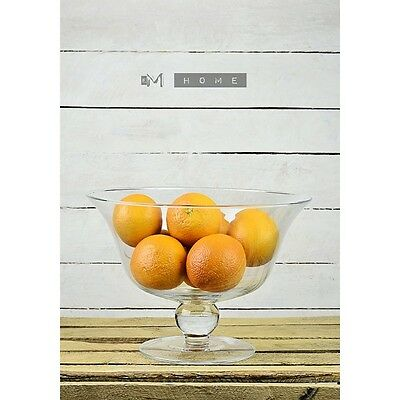 Handmade Clear Glass Footed Fruit Salad Bowl Dish Centerpiece