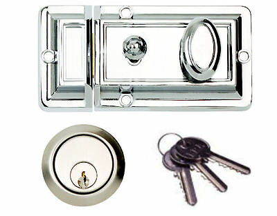 Front Door Lock Nightlatch Rim Yale Type Cylinder Narrow / Standard CHROME/BRASS