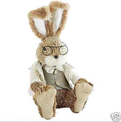 "Natural Specs Rabbit, Easter Bunny 14"", Handcrafted, Pier 1; Jute, Grass..."