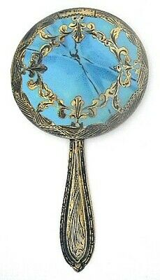 800 Silver Enamel Hand Mirror Italy ~Faux Finish Turquoise Marble~Hand Engraving