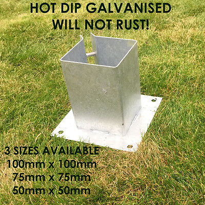 Galvanised Bolt Down Fence Post Support Anchor Post Holder Like Metpost