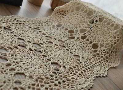 "Hand Crochet Lace Table Runner French Country Ecru 52"" Oblong"