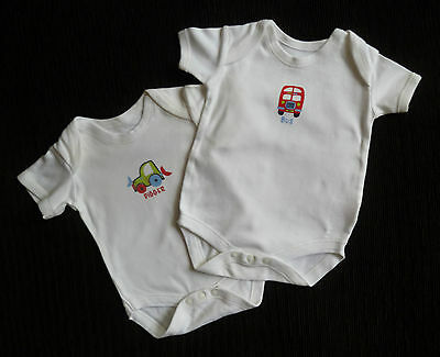 Baby clothes BOY 0-3m bus/digger 2 Matalan white bodysuits COMBINE POST SEE SHOP