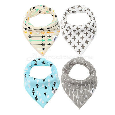 4 pcs/set Baby Boys Girls Printed Soft Absorbent Bandana Drool Bibs with Snaps