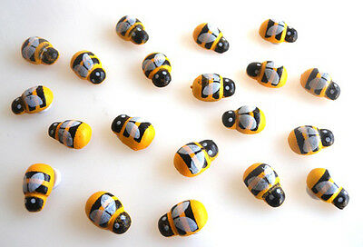 20 Gorgeous Bumble Bees Flatback Cabochons Embellishments- Fast Free Shipping