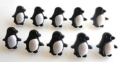 10 Gorgeous Penguin Button Shank Cabochons Embellishments- Fast Free Shipping