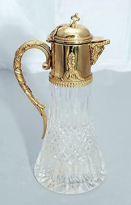 Glass and Gilt  Silver Plate Mounted Claret Jug