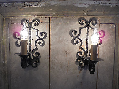 French attractive wrought iron  a pair vintage wall light country rustic