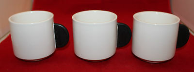 Kate Spade Saturday Set of 3 White Coffee Tea Mug Cups Black Handles Stackable