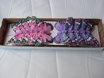 FEATHER BUTTERFLY ON WIRE PINK/LILAC 12 X 7cm Butterflies