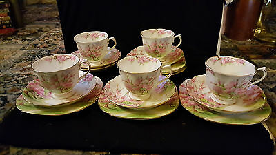 Five  Royal Albert Blossom Time -Cherry Blossom Trios - Cup -Saucer & Plate