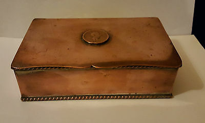 Late 19th Century Brass Rope Edged Box with George III coin - Previously plated