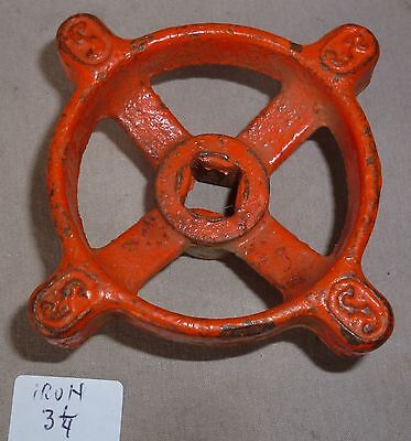 "Antique Faucet large handle STEAMPUNK! cast iron Orange 3 1/4"" dia"