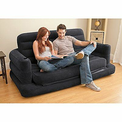 Pull-out Sofa Inflatable Bed Queen Size Blow-up Mattress Loveseat Portable NEW