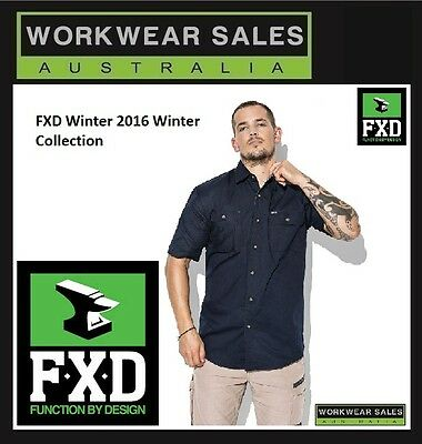 FXD Men Short Sleeve Button Up Work Shirt Black Navy & Khaki Colours In Stock