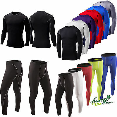 Mens Boys Compression Armour Baselayer Tops Thermal Skins Stretch Shirt Leggings