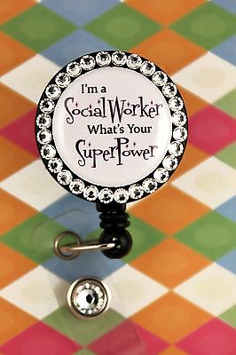 Retractable Badge Reel Name Tag ID Pull Holder Clip Social Worker Work LCSW gift