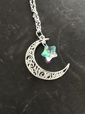 Crescent Moon with Crystal Twinking Glass AB Star Necklace