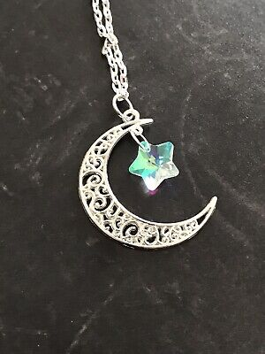 Crescent Moon with Twinking Glass AB Star Necklace