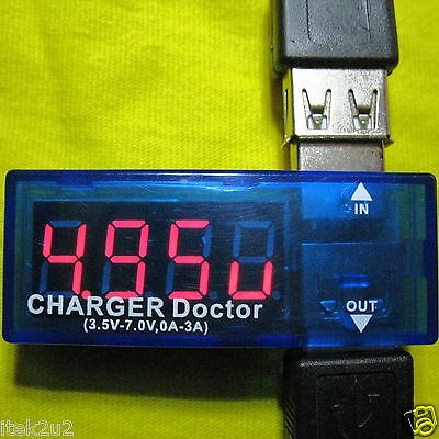 USB LED Voltmeter Voltage + Current Amp Meter Charge Power Tester Detector Phone