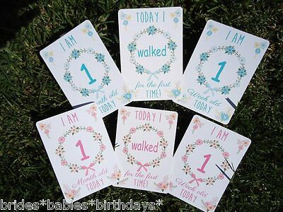 Baby's Memorable Milestone Photo Cards Boy Girl Baby Shower Gift Pink Blue